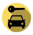 car key simplistic sign flat black icon vector image vector image