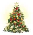 christmas decorated tree with baubles stars vector image