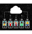 Cloud computing phone background vector image