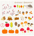 colorful autumn decoration element set vector image