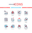computer attacks - line design style icons set vector image