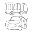 contour black and white cartoon of bus and car vector image