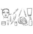 cosmetic or skincare cosmetology sketches vector image