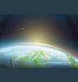 cosmonautics day themed poster with earth part vector image vector image