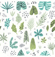 exotic leaves hand drawn seamless pattern vector image