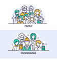 family and professions banner templates set vector image