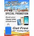 fly around world promotion poster banner vector image vector image