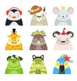 funny animals and birds different hats set vector image vector image