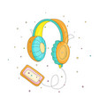funny cartoon colored headphones with retro player vector image