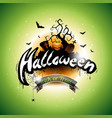 happy halloween with bats cemetery and moon on vector image