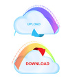 icons cloud with an arrow and scale load with vector image vector image
