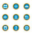 motor car icons set flat style vector image vector image
