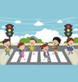 of kids walking across crosswa vector image