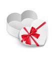 opened cardboard box mockup in love heart shape vector image