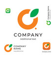 orange with a leaf logo simple and clean modern vector image vector image