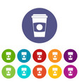 paper coffee cup icons set flat vector image vector image