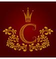 Patterned golden letter C monogram in vintage vector image vector image
