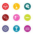 road commerce icons set flat style vector image vector image