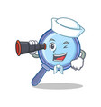 sailor with binocular magnifying glass character vector image