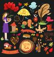 set autumn elements and labels graphics vector image