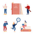 set men and women using manual guide book vector image