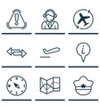 set of 9 travel icons includes siren info vector image
