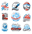 Ski resort emblems set vector image