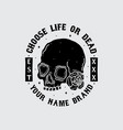 skull head t-shirt design vector image vector image