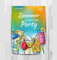 summer party invitation card cocktail party flyer vector image vector image