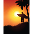 surfer silhouette vector image vector image