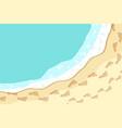 top view seashore with sea waves vector image vector image