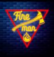 vintage fireman emblem glowing neon vector image vector image