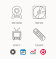 web camera retro tv and hard disk icons vector image vector image