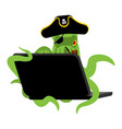 web pirate octopus and laptop poulpe internet vector image vector image