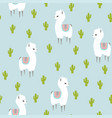 white llama alpaca and cactus seamless pattern vector image