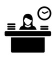 worker icon female person avatar symbol with desk vector image
