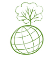 A green tree at the top of a globe vector image vector image