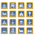 amusement park icons set blue square vector image vector image