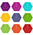 anchor icons set 9 vector image