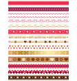 assorted seamless borders for valentines day vector image vector image