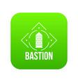 bastion icon green vector image vector image