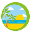 beach palm sun sea sticker vector image