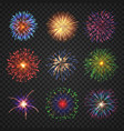 big set different fireworks with shining sparks vector image vector image