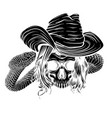 black silhouette tattoo with skull and snake vector image vector image