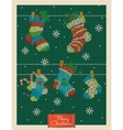 Christmas greeting card with knitted xmas socks vector image