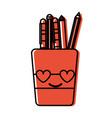 color tools cup in love kawaii cartoon vector image vector image