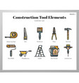 construction tool elements linecolor pack vector image vector image