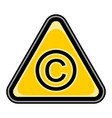 copyright sign triangular sticker vector image