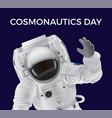 cosmonautics day promotional poster with spaceman vector image vector image