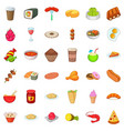 delicious dish icons set cartoon style vector image vector image